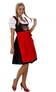 Dirnl-kjole i sort, hvid og rød