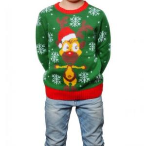Grøn børne julesweater