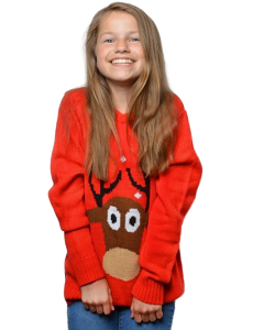 Rød børne juletrøje med rensdyr
