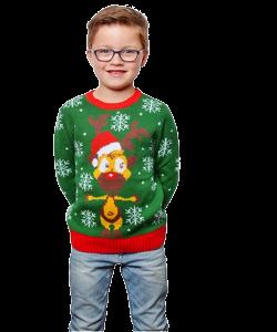 grøn børne julesweater med motiv